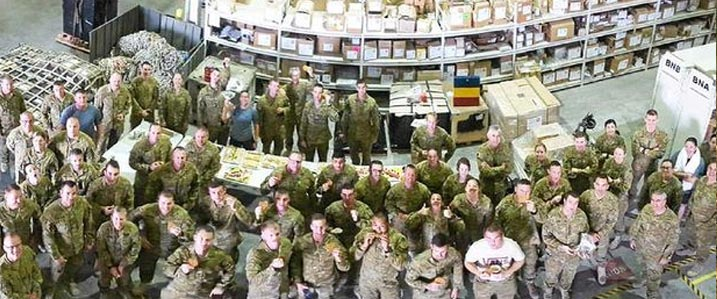 Ruth Geck who owns 1770 Marina cafe surprised soliders in Dubai with boxes of Anzac cookies this week