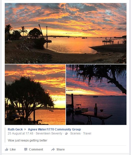 Sunset photos taken at Agnes Water / 1770. Photos taken by Ruth Geck. Visit her Photography Facebook page.