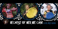 """Theme graphic - reads """"Because of Her we can"""""""
