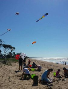 kites flying on the beach with people playing in the sand