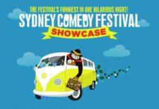 Graphic saying sydney comedy festival showcase